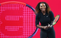 Serena Williams of the USA reacts during a Wilson Racquet promotion during a practice session ahead of the 2017 Australian Open at Melbourne Park on January 12, 2017 in Melbourne, Australia.